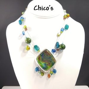 Chico's Green Enamel Pendant Wire Beaded Necklace